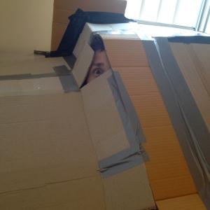 cardboard homemade fort