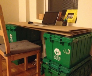 cardboard desk upcycle