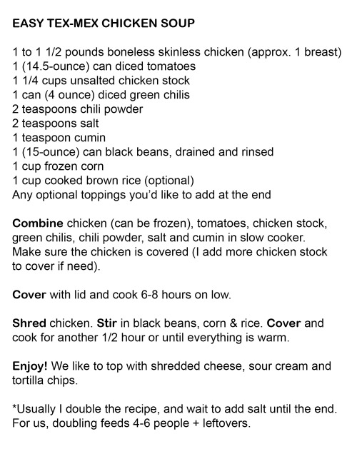 tex-mex chicken soup recipe